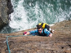 Rock Climbing Photo: High bluffs. Magellan's Voyage 5.10b. Follow.