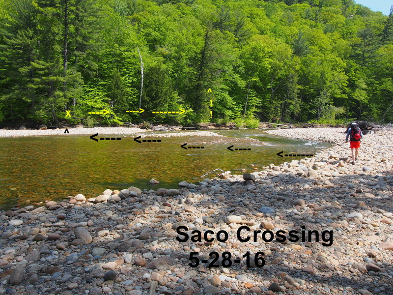 """Saco Crossing"" - further ""upriver"" than guidebook shows due to Irene changing the river banks. Flooding in Oct 2017 AGAIN changed the river and there is a large mid-river gravel island with uprooted trees about where the 3rd & 4th arrow is in this photo."