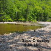 """""""Saco Crossing"""" - further """"upriver"""" than guidebook shows due to Irene changing the river banks. Flooding in Oct 2017 AGAIN changed the river and there is a large mid-river gravel island with uprooted trees about where the 3rd & 4th arrow is in this photo."""