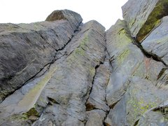 Rock Climbing Photo: Cutting Edge is the crack system in the corner to ...