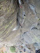 Rock Climbing Photo: Looking down while leading Cutting Edge.