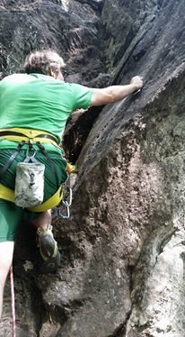Rock Climbing Photo: Clipping the first bolt on Crowd Pleaser