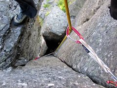 Rock Climbing Photo: Looking down after exiting the chimney on Internal...