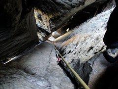 Rock Climbing Photo: Inside the chimney on Internal Bliss.
