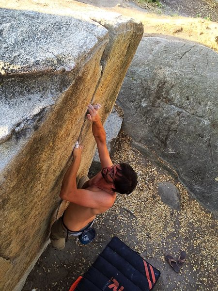 Rock Climbing Photo: tight fingers and slightly overhanging rock. pinsc...