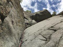 Rock Climbing Photo: Rebecca rapelling off the 2nd pitch.