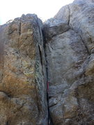 Rock Climbing Photo: We cut left just above the bulge and went to the b...
