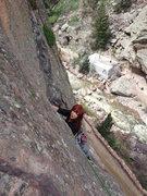 Rock Climbing Photo: Annalise cleaning P1.