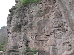 Rock Climbing Photo: Solaris (yellow) and Die Mitte (purple).