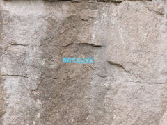 Rock Climbing Photo: The names of some of the new routes are painted on...