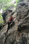 Photo of me TR'ing Unknown Route 3 (5.8) on the Right Sector of Crescent Rocks.