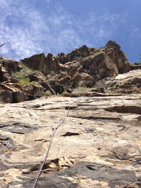 From the belay at the bottom of P2, looking up at Hornpipes.