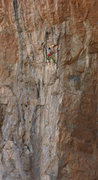 Rock Climbing Photo: Ken makes the BIG reach up high on Old Man Direct ...
