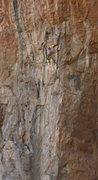 Rock Climbing Photo: Ken makes the BIG reach up high on Old Man Direct ...