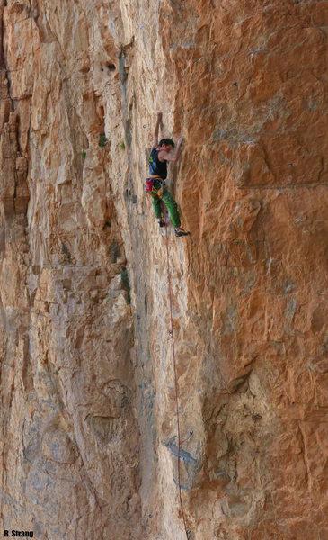 Ken starts into the 5.11 climbing <br> Hide & Seek(a) 5.11c