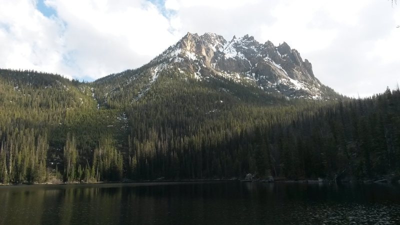 The Chockstone Couloir from Redfish Lake