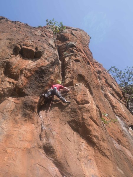 Rock Climbing Photo: Getting out of shitty rock and into the great groo...