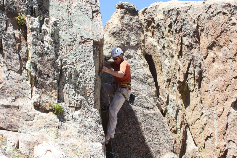 Rock Climbing Photo: Good photo ops from the shelf above the pit.