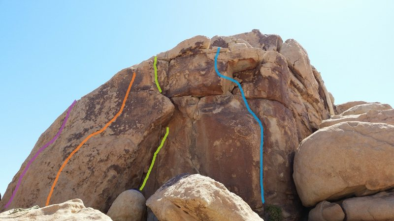 Rock Climbing Photo: Cumbre follows the leftmost (purple) line.