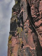 Rock Climbing Photo: Leading the top pitch on The Wizard.  Photo by Jos...