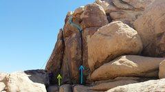 Rock Climbing Photo: Samiti climbs the corner with the green arrow.