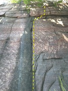 Rock Climbing Photo: The crack of left arm is located in a dark waterma...