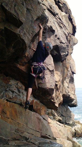 Rock Climbing Photo: Regina speeding through the crux.