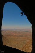 Rock Climbing Photo: Ed rests up for the redpoint crux Public Enemy (5....