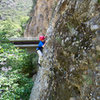 Wesley Fienup is past the crux and cruising on Ripple Rider, at Wheeler Gorge.