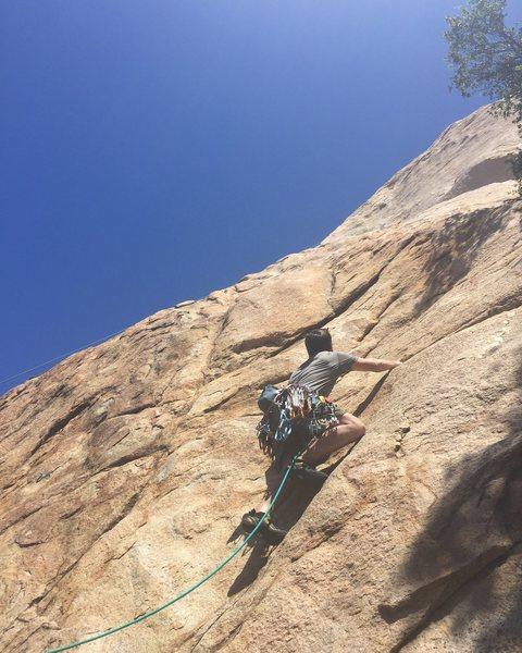 Rock Climbing Photo: Near the first spot to place smll cam.  Dark horiz...