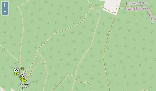 Rock Climbing Photo: A screenshot from OpenStreetMap with the parking i...