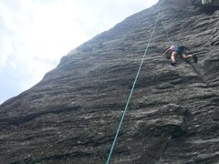 Rock Climbing Photo: First pitch of Cave Route. Some rope drag for top ...