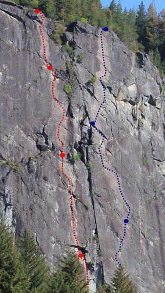 Rock Climbing Photo: Red: Brett and Scott. Blue: Crimson Eye
