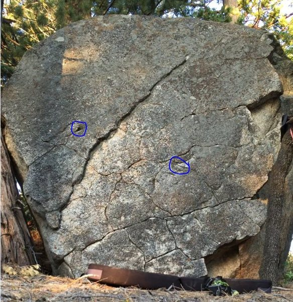 Rock Climbing Photo: Start holds have been marked. The big block at the...