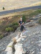 Rock Climbing Photo: Semi-hanging belay on top of P1.
