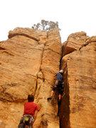Rock Climbing Photo: Gno in Crack Right.