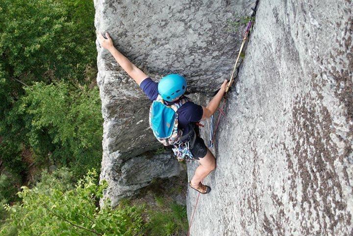 Rock Climbing Photo: Gary leading the top of Slippin'