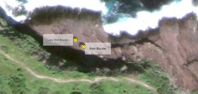 Google Earth view of First Bay boulders in Blackhead