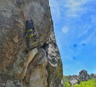 Rock Climbing Photo: Transitioning from the rest into the thin upper fa...