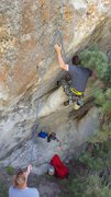 Rock Climbing Photo: Toe camming in the flake at the start