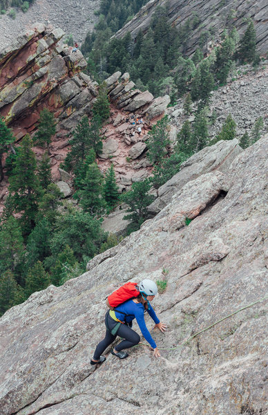 Rock Climbing Photo: Unknown climber following with 2nd Flatiron in the...
