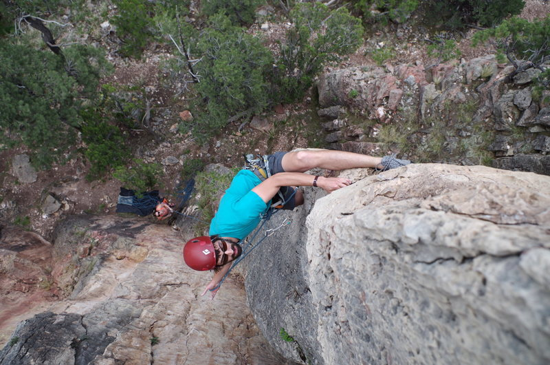 Heel hook half way up the route to clip.  Unnecessary but cool.
