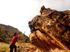 Rock Climbing Photo: Pulling the lip on Damacio.