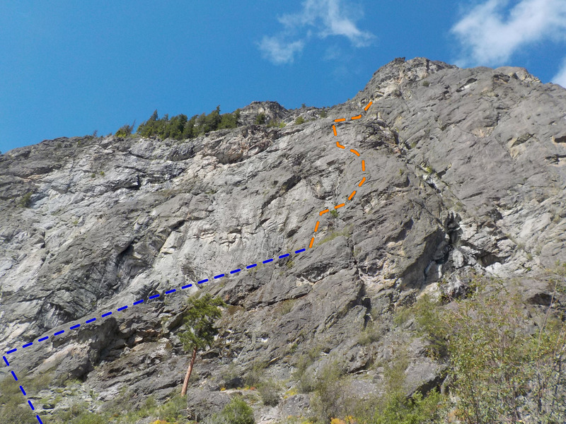 Route as viewed from the approach trail. <br> Approach in Blue<br> Climbing in Orange