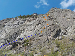 Rock Climbing Photo: Route as viewed from the approach trail.  Approach...