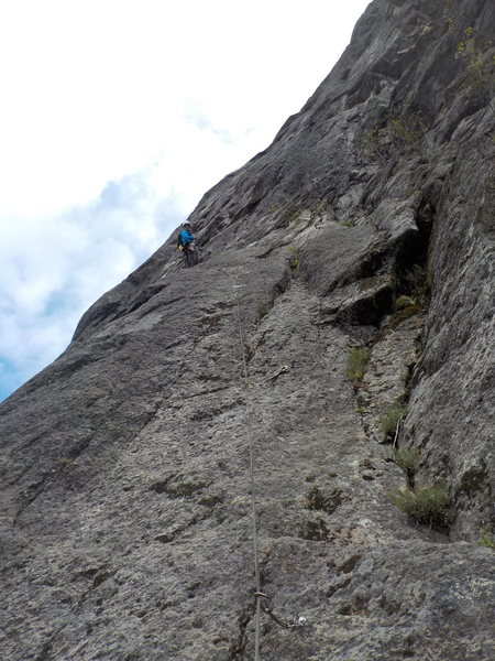 Rock Climbing Photo: The 5.8 Slab on P5,