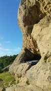 Rock Climbing Photo: upper ledge is the topout...bottom ledge & floor t...