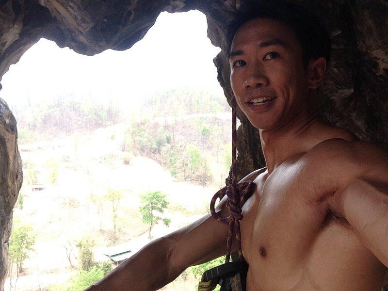 "Rock Climbing Photo: At the anchors of ""Sandbag"" 6c, The Arch..."