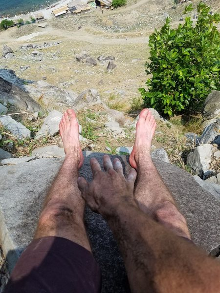 Rock Climbing Photo: Aftermath of cleaning new route. This place is goi...