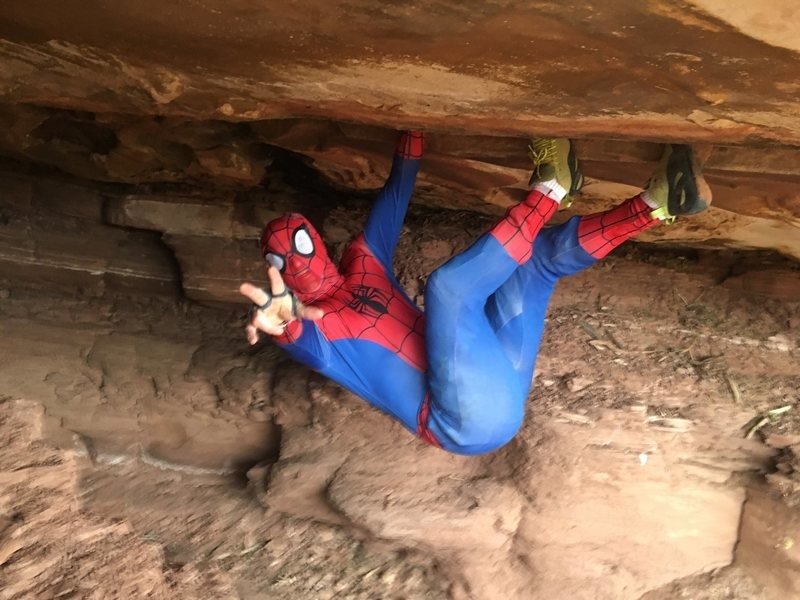 Rock Climbing Photo: Spiderman working the moves early in problem.